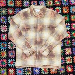 Yellow Plaid Acid Wash Bleach Flannel